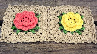 Crochet Rose Flower Granny Square Tutorial