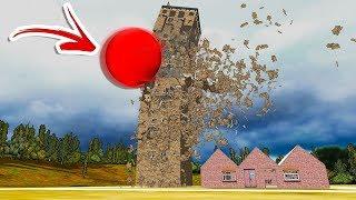 Flattening Buildings With a BIG RED BALL! Crazy Destruction Physics! - Detonate