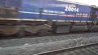 preview picture of video 'Shantiniketan Express charging towards Howrah, and meets the empty rakes of Himgiri Expres'