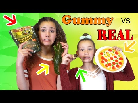 GUMMY FOOD vs. GROSS REAL FOOD! (Alligator, Snails & Sardines)