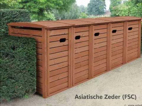 Mülltonnenbox Holz für 120 + 240 Liter - Müllbox STANDARD