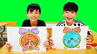 Kids go to School Learn Coloring Alarm Clock  | Classroom Funny Nursery Rhymes