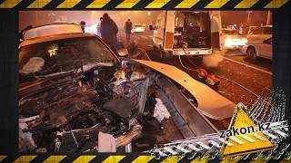 В Алматы BMW пробило отбойником насквозь