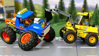 LEGO Police Car vs Tractor and Monster Truck . Kids Story .  Сars for kids