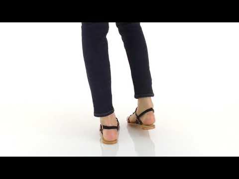 Sandale noire à franges et tresses