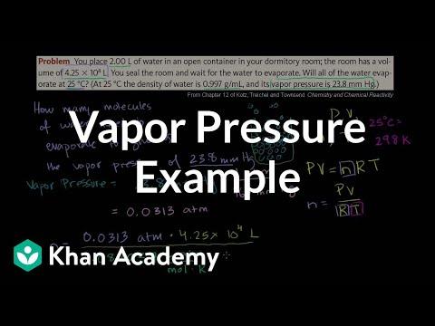 Vapor pressure example (video) | Khan Academy