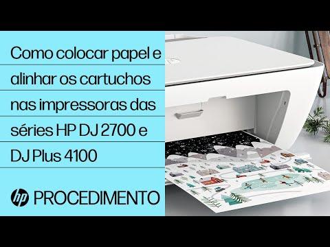 Como colocar papel e alinhar os cartuchos nas impressoras das séries HP DeskJet 2700 e DeskJet Plus 4100