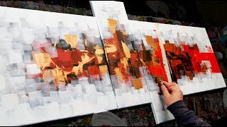 Abstract Painting Demo Acrylics Using Brush, Knife - Intermind - John Beckley