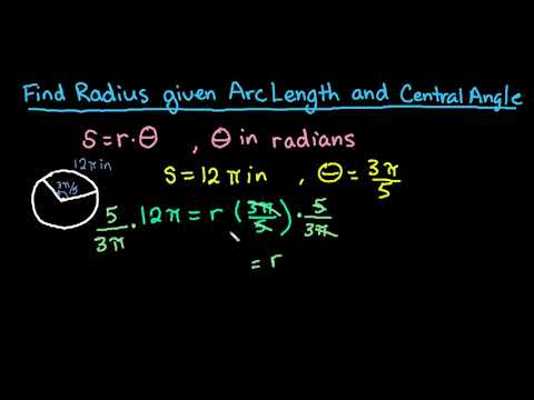 Find Radius Given Arc Length and Central Angle