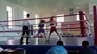 Айгерим Ошакбай на чемпионате Казахстана среди студентов, полуфинал, красный угол