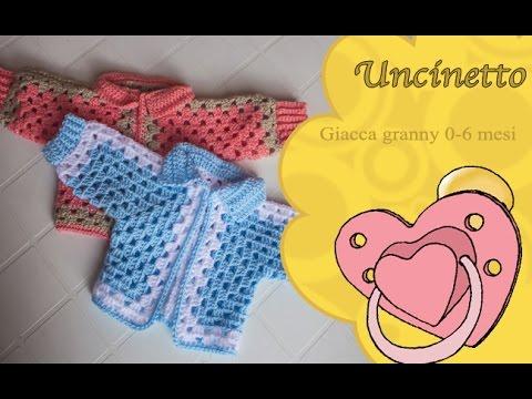 Uncinetto bimbi: giacca granny 0-6 mesi-How to do jacket granny children