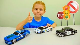 Машинки. Полицейские Машинки. Гоночная Машинка. Ford Mustang - Даник играет с папой