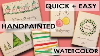 5 DIY Watercolor Christmas Cards ✶  Different Designs ✶ quick + easy
