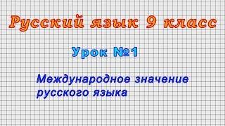 Русский язык 9 класс Урок 1