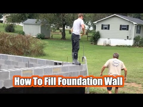 How To Fill Block Foundation Wall With Concrete!  Concrete Pump Truck!