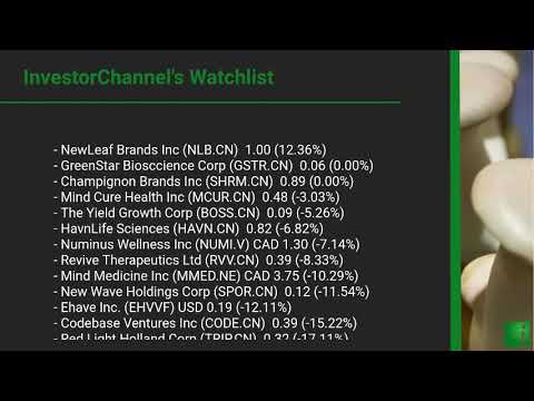 InvestorChannel's Psychedelics Watchlist Update for Thursday, March, 04, 2021, 16:00 EST