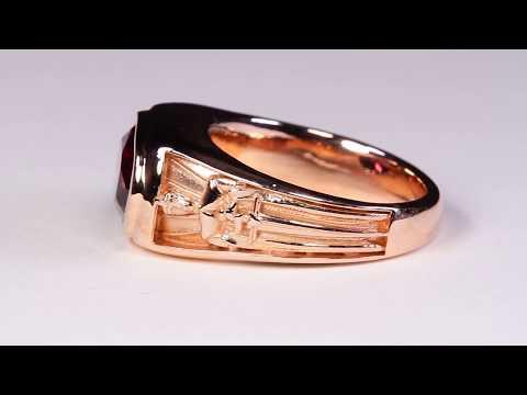 Men's Art Nouveau Rhodolite Garnet Ring in Rose Gold
