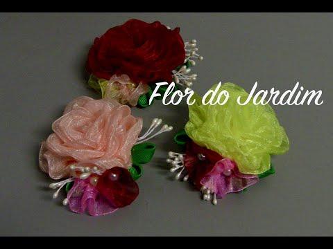 Rosas de fita de organza - organza ribbon flowers - Organzaband Rosen,