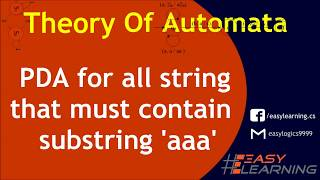 All words that must contain 'aaa' | Regular Expression | DFA | FA | PDA | Easy Learning Classroom