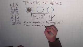 The final part of my Towers of Hanoi series. In this episode I explore the connection between the Towers of Hanoi and Mersenne Primes.