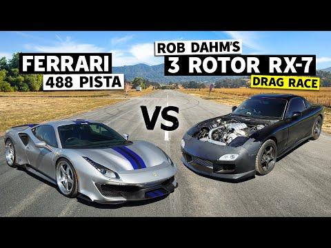 3ローターのRX-7(FD3S)とフェラーリ488 Pistaがドラッグカー対決