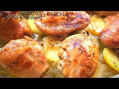 Pollo asado al horno 🍗 con papas y cebolla