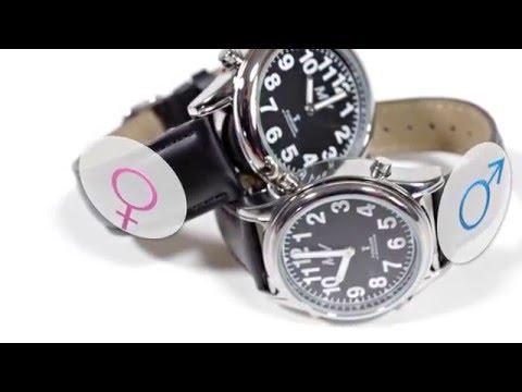 Sprechende Funk-Armbanduhr Damen & Herren Lederarmband Black Stile