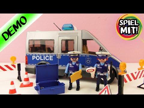 Playmobil Polizei - Polizeibus mit Straßensperre Demo Deutsch 9236 - Spiel mit mir Playmobil