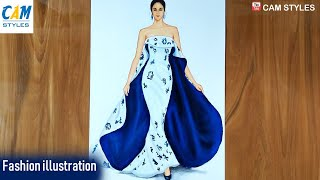 How To Draw A Girl In A Dress / Fashion Illustration Drawing / Fashion Design Illustration