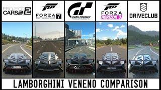 GT SPORT vs PCARS 2 vs FORZA 7 vs HORIZON 3 vs DRIVECLUB - Lamborghini Veneno