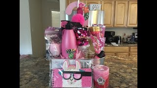 Dollar Tree Gift Basket Ideas// A PINK THEME AND A SWEET TREAT THEME