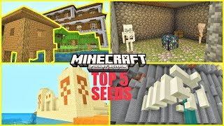 Minecraft PE - TOP 5 BEST SEEDS ! Mesa Temple at spawn, EXPOSED Dungeons & More | MCPE 1.12