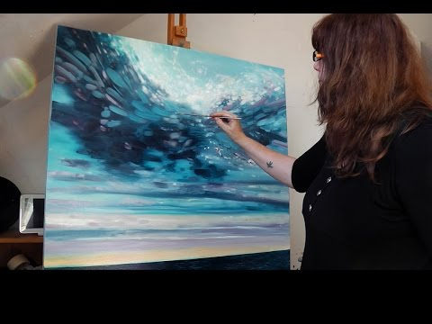Gill Bustamante speed painting a large seascape in oils on canvas