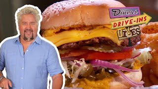 Guy Fieri Feels The HEAT In This Spicy Three-Pepper Firehouse Burger (from #DDD) | Food Network