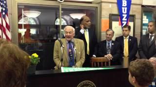 Buzz Aldrin Gets Key To Montclair, NJ,  Plaque at Montclair High School