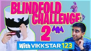Playing Fortnite Blindfolded w/ VIKKSTAR123 | Gaming with Marshmello
