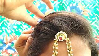 How to Fix Mang Tika || A Beautiful  Wedding Hairstyle for Girls
