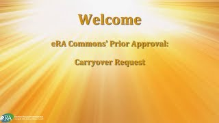 Prior Approval: Carryover Request