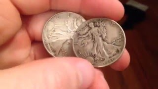 1941 and 1943 half dollar coins in fine condition