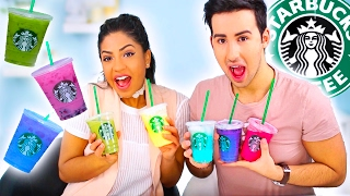 TASTING STARBUCKS SECRET MENU RAINBOW DRINKS!