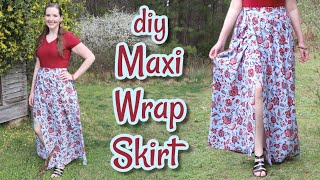 DIY Maxi Wrap Skirt | How To Make A Wrap Skirt Without A Pattern | Easy Wrap Skirt Tutorial