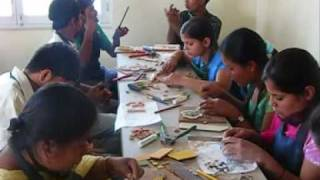 Teaching deaf Nepali young people how to make mosaics
