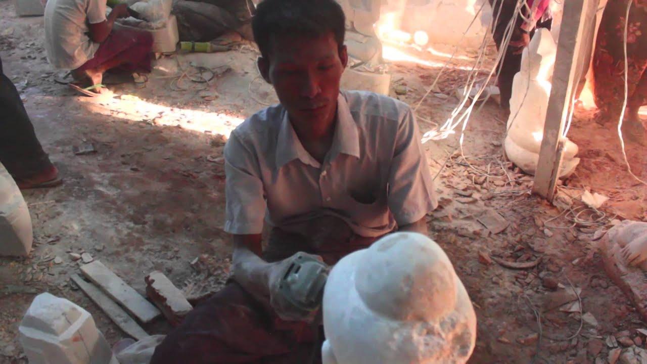 Quy trình tạo tượng Phật đá tại Myanmar