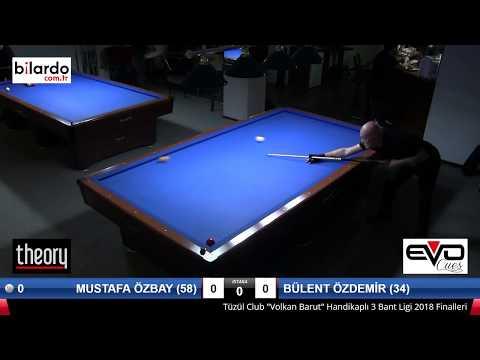 MUSTAFA ÖZBAY (58) & BÜLENT ÖZDEMİR (34) Bilardo Maçı - TÜZÜL CLUB 2018 HANDİKAPLI LİG FİNALLERİ-Çeyrek Final