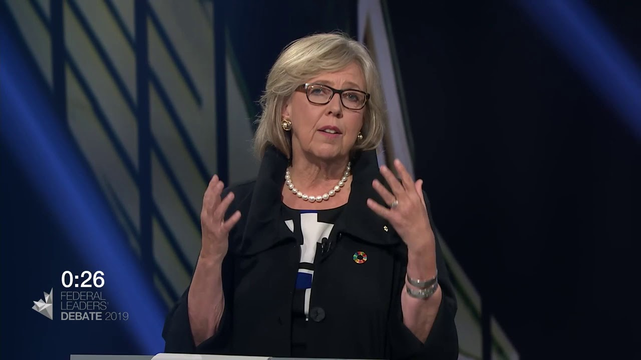 Elizabeth May answers a question about truth and reconciliation