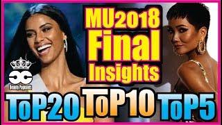 Miss Universe 2018 #1 - Final Insights Top20-Top10-Top5