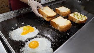 Fried Egg Bacon Double Cheese Toast / Korean Street Food