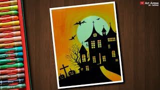 Halloween Drawing With Oil Pastels - Step By Step