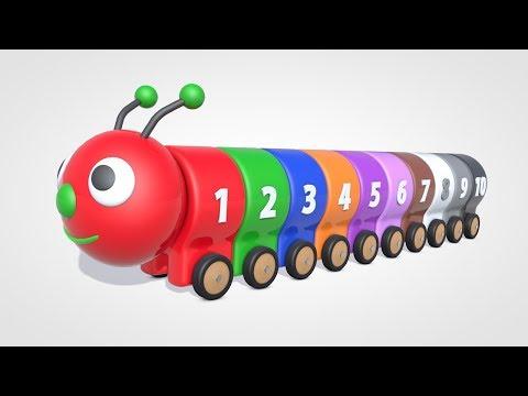 Обучающий Мультик - УЧИМ ЦВЕТА - Цветная Гусеница - Учимся считать от 1 до 10 - Паровозик Олли