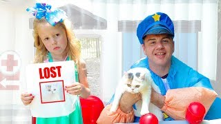 Nastya and the policeman are investigating the secret life of pets